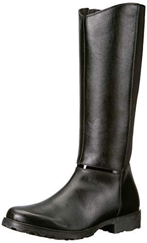 Geox J84A5C Olivia Stivali Modischer Mädchen Leder Stiefel, Langschaft-Stiefel, Reißverschluss, atmungsaktiv Schwarz (BLACK), EU 31