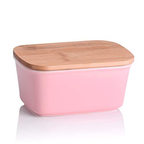 LOVECASA Burriera in Ceramica con Tappo, Freshzone Portaburro Scatola Porta-Burro per Conservazione Burro Formaggio Latticini Alimenti Rosa