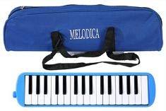 【grepo】鍵盤ハーモニカ 32鍵 パイプ ホース付 持ち運び用収納袋付 メロディーピアノ 立奏用唄口 卓奏用 セット 小学校用 ブルー 青色