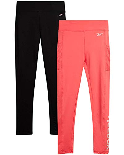Reebok Girls Active Solid Legging Pants with Mesh Pocket (2 Pack), Size Small, Black/Peach