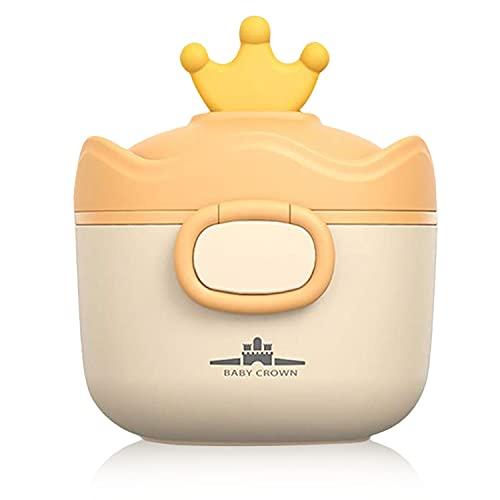 RoserRose Dispenser per latte in polvere, 500 ml, ermetico, portatile, per alimentazione da viaggio, con livellatore e cucchiaio (giallo)