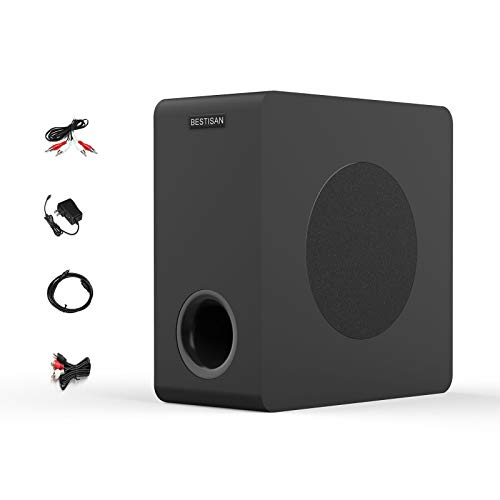 Bestisan Powered Subwoofer, Compact Subwoofer for Home Audio Theater, Deep Base, Built-in Amplifier Wireless Subwoofer for TV, Optical/RCA/Bluetooth...