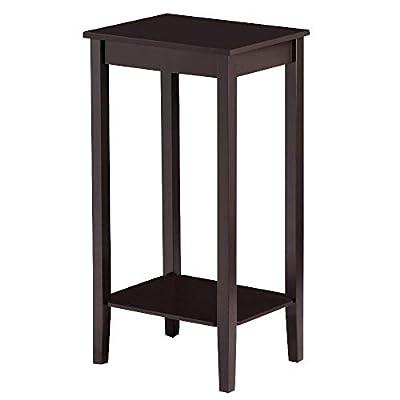 Topeakmart Wood Coffee Table Tall Bedside Nightstand Bedroom Living Room Sofa Side End Table Furniture, Espresso