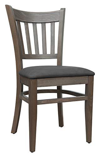 Set 2 Stühle Stuhl Buche massiv grau Sitzpolster Kunstleder Retro grau *T002