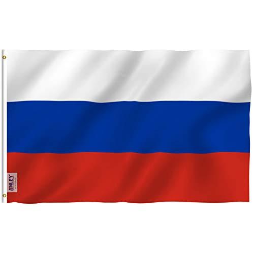 Anley Fliegenbrise 3x5 Fuß Russland Flagge - Lebendige Farbe und UV-beständig - Leinwand Kopf- und Doppelnaht - Russische Föderation Nationalflaggen Polyester mit Messingösen 3 X 5 Ft