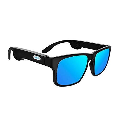 MagiDeal Gafas de Conducción ósea Gafas de Sol de Audio Inteligentes Bluetooth 5.0 Lente Azul - Lente Azul