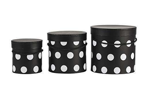 VIPOLIMEX Juego de 3 cajas de flores con puntos, caja de regalo con cordón dorado, caja decorativa con tapa de color liso, caja para sombrero, caja de almacenaje (juego de 3 unidades), color negro