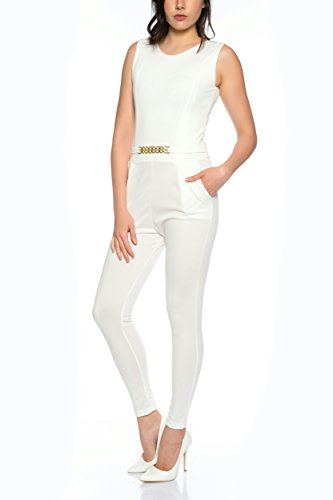 Crazy Age Eleganter Jumpsuit Overall S-XL (S, weiß) - 2