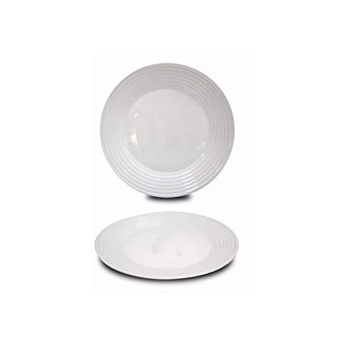 Plato Llano Blanco Vajilla Elegante, Ideal para el menaje del hogar, Set de 6. Diseño de lineas Onduladas Muy Original 25 cm