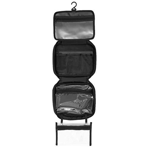 Borsa da toilette da Viaggio a Appeso, Pieghevole con gancio per appendere, Nero Cosmetici Beauty Case Make-up Borsa 4 scomparti pieghevoli, Unisex Uomo Donna - Taglia XL : 30x25x10cm