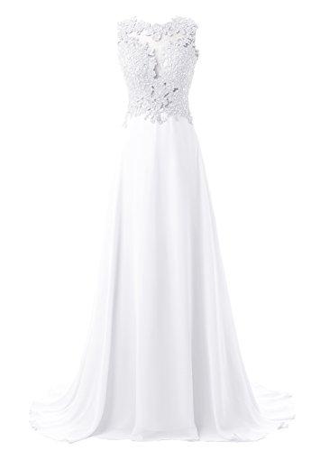 Callmelady Abendkleider Lang Spitze Elegant Ballkleider Damen Abiballkleid Cocktailkleid (Weiß, EU36)