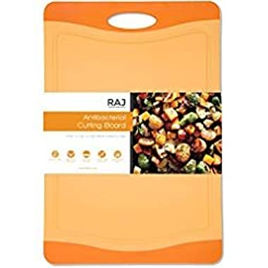 Raj Plastic Cutting Board Reversible Cutting board, Dishwasher Safe, Chopping Boards, Juice Groove, Large Handle, Non-Slip, BPA Free, FDA Approved (18 , Orange)