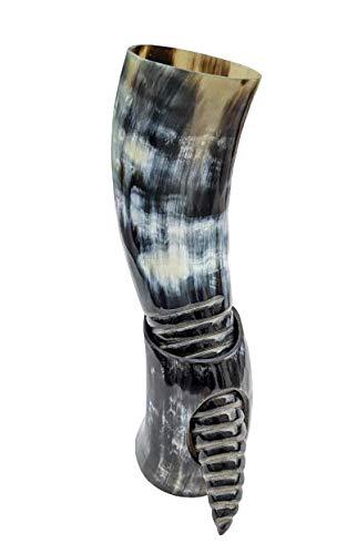 Hornerey T-05Spi Echtes Trinkhorn 0,5l inkl. Hornständer und Spiralfräsung, Büffelhorn, 500 milliliters