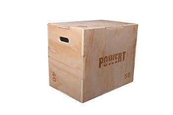 POWERT Wood Plyo Box 3-in-1 Wooden Jump Box Gym Strength Training-24  ×20  ×16
