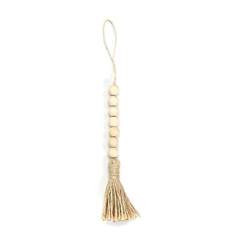 LHZUS Guirnaldas de Madera Guirnalda con borlas Naturaleza Color Nórdico Estilo Decoración para el hogar Colgando DIY Crafts Madera Jute Cuerda Cuerda de Madera Guirnalda (Color : A)