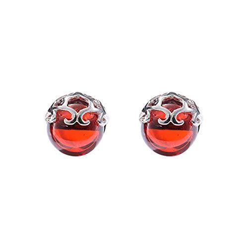 Orecchini in argento sterling S925 orecchini con granato rubino orecchini temperamento rosso foto di gioielli