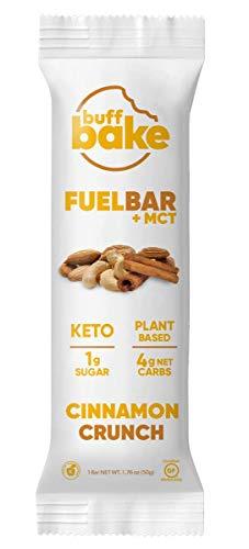 Buff Bake Fuel Bar + MCT | Keto Friendly | Plant Based | Gluten Free | 12g of Protein | 1g Sugar | 4g Net Carbs | Non Dairy | Vegan (12 Count, 50g) (Cinnamon Crunch, 12 Count)