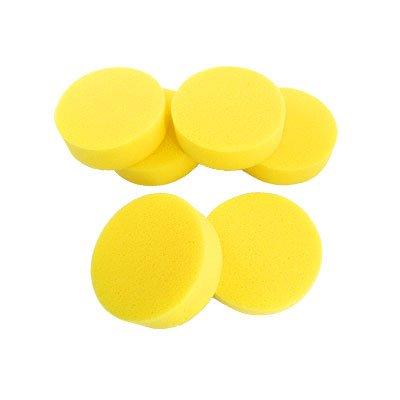 uxcell Car Auto 6 Pcs Yellow Round Sponge Wax Applicator Pads