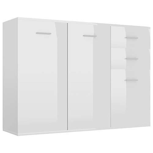 vidaXL Sideboard mit 2 Türen 3 Schubladen Highboard Kommode Standschrank Mehrzweckschrank Anrichte Schrank Hochglanz-Weiß 105x30x75cm Spanplatte