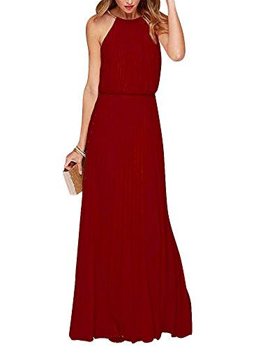 Yigoo Festliche Elegant Kleider Damen Festlich Hochzeit Neckholder Vintage Abendkleid Schulterfrei Cocktailkleid A-Linie Lang Chiffon Rot M