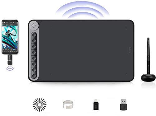 Tableta gráfica de Dibujo, Huion Inspiroy Dial Q620M, Tableta Gráfica Inalámbrica de 10.5 x 6.6 Pulgadas, Controlador de Marcación Multifuncional, Conectividad Inalámbrica, Windows / macOS / Android