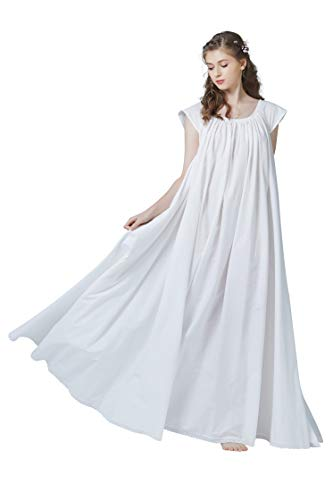 Women's Victorian Nightgown Cotton Sleepwear Maternity Nightie Long Oversize S 127 Ivory