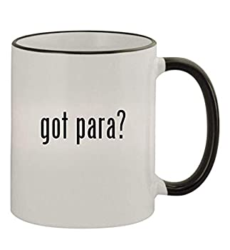 got para? - 11oz Colored Handle and Rim Coffee Mug Black