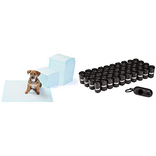 Oferta de Amazon Basics - Toallitas de Entrenamiento para Mascotas (tamaño Regular, 150 Unidades) + - Bolsas para excrementos de Perro con dispensador y Clip para Correa (600 Bolsas)