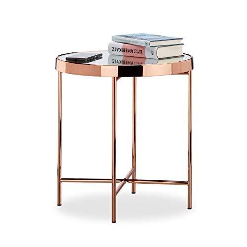 Relaxdays Bijzettafel koper, glas spiegel, bijzettafel, spiegelglas, edel, modern, HBT: 46 x 42 x 42 cm, koper