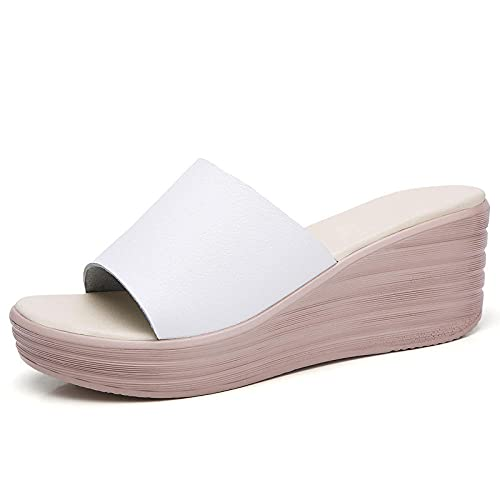 FAYHRH Sandalias de Ducha para Mujer,Sandalias de tacón con Pendiente de Verano, Zapatillas de tacón con Plataforma y Plataforma-Blanco_39