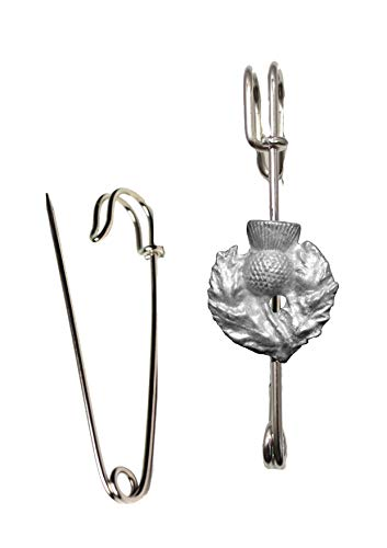 FT351 Scottish Thistle 3.3x3.7cm Scarf , Brooch and Kilt Pin Pewter 3' 7.5 cm POSTED BY US GIFTS FOR ALL 2016 FROM DERBYSHIRE UK