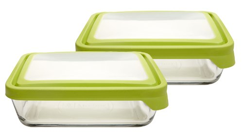 Anchor Hocking 11-Cup Rectangular Food Storage Containers with Green...