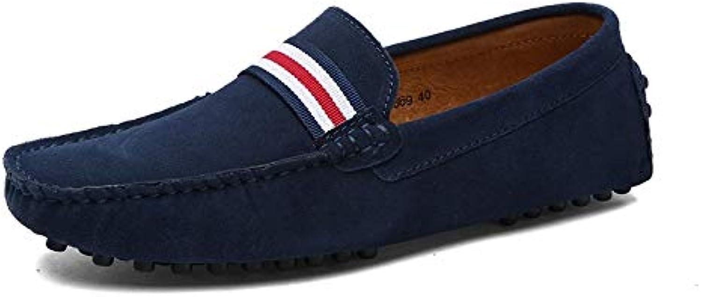 British Casual shoes Four Seasons Single shoes Men's Leather Peas shoes Men's shoes Set Foot shoes (color   bluee, Size   45)