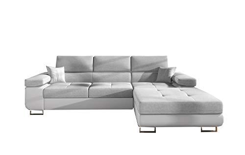 MOEBLO Ecksofa mit Schlaffunktion mit Bettkasten Couch L-Form Polstergarnitur Wohnlandschaft Polstersofa mit Ottomane Couchgranitur - Alvaro...