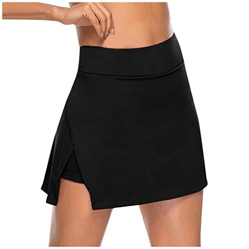 CXDS Frauen doppellagige Sport Hohe Taille Workout Yoga Leggings Fitness Shorts Laufhose Bauchkontrolle 4-Wege-Stretch XXXX-Large Schwarz 6