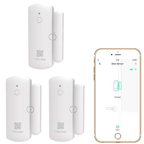 YoLink 1/4 Mile World's Longest Range Smart Wireless Door Sensor, APP Alerts Smart Door Window Sensor Smart Home Security System Compatible with IFTTT, 3 Packs - YoLink Hub Required