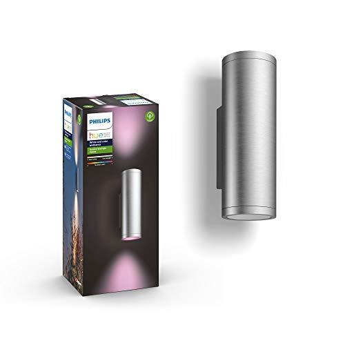 Philips Hue Appear - Aplique exterior inteligente 16 W, 1200 lúmenes, luz blanca y color 2200 - 6500k IP44, acero inoxidable, color gris