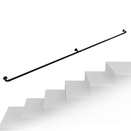 VAN Corrimano per Scale Interne ed Esterne Ferro battuto ringhiera per Scale in Tubo Industriale Antiscivolo parapetto Scala per Scale Staffa a parete-70cm M