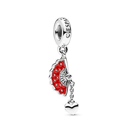 LILANG Pandora 925 joyería Pulsera Natural auténtica Plata esterlina Abanico español Colgante Encanto Ajuste Moda Pan Brazalete Adecuado para Mujeres Regalo de Bricolaje
