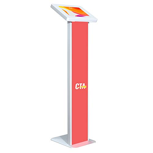 CTA Digital: Premium Locking Floor Stand Kiosk with Graphic Card Slot for 10.2-inch iPad 7th & 8th Gen & More, White
