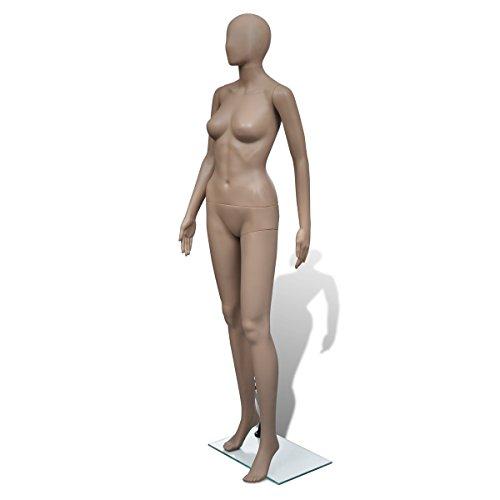 vidaXL Schaufensterpuppe Mannequin Frau Weiblich Puppe mit Bodenplatte 6-TLG.