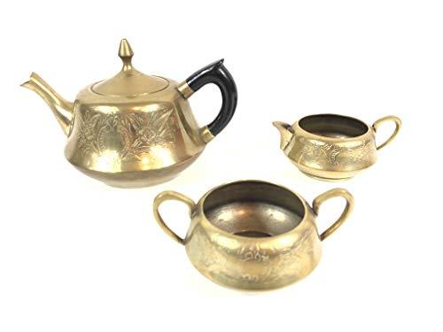 ALE E COMMERCE Servizio da tè in Ottone EPNS 3 Pezzi Teiera Zuccheriera Lattiera