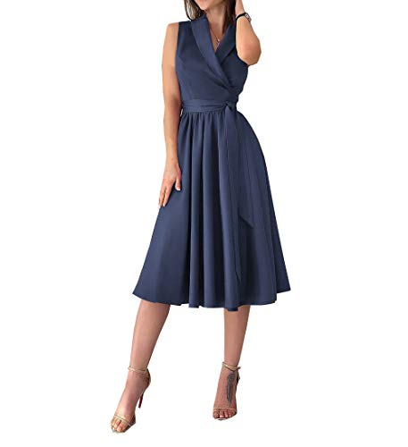 Damen Midi Kleid Abendkleid V-Ausschnitt A Linie Ärmellos Faltenkleid Saum Split Elegant Knielang Kleid (L, Dunkelblau)