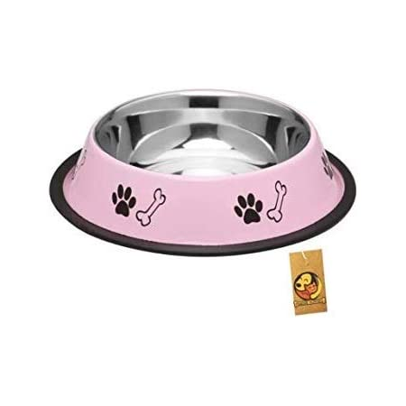 Foodie Puppies Stainless Steel Paw Bone Printed Food Water Feeding Bowl for Dogs & Puppies (Medium, 700ml, Baby Pink)