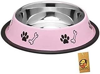 Foodie Puppies Stainless Steel Paw Bone Printed Food Water Feeding Bowl for Dogs & Puppies (Medium, 700ml, Baby Pink)
