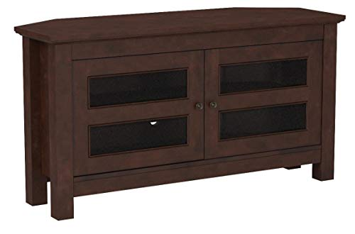 Walker Edison 44 Brown Wood Cordoba Corner TV Stand Console for Flat Screen TV's Up to 50 Entertainment Center
