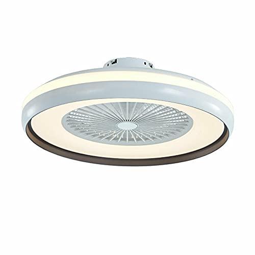 Ventilador de techo moderno de 23 pulgadas, con luz semifluida, regulable, LED, para dormitorio