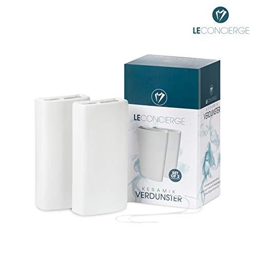 LE CONCIERGE® Heizkörper Luftbefeuchter [2er Set] - Keramik Wasserverdunster für die Heizung, Keramik Luftbefeuchter Heizkörper 350ml inclusive Haken