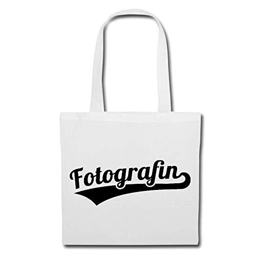 Tasche Umhängetasche Fotografin - DIGITALKAMERA - FOTOGRAF - FOTOSHOOTING - FOTOGRAFIEREN Einkaufstasche Schulbeutel Turnbeutel in Weiß