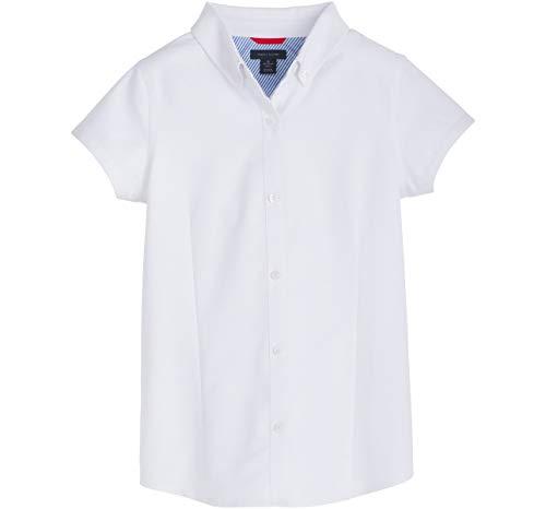 Tommy Hilfiger Big Short Sleeve Oxford Girls Buttondown Collar Blouse, Kids School Uniform Clothes, White, 16